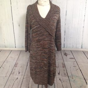 Shades of Brown Sweater Dress Buckle Detail